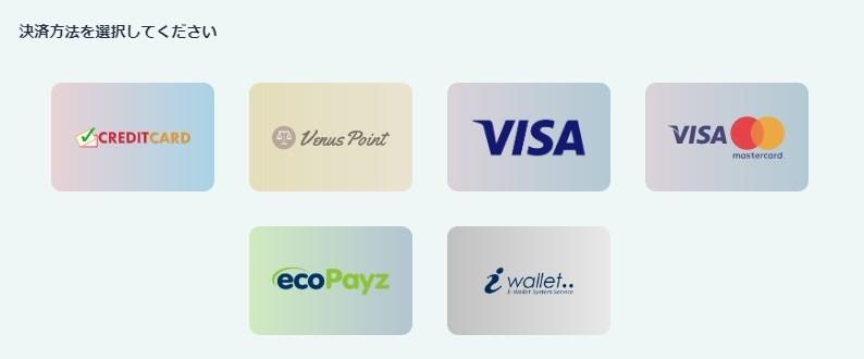 カジノシークレットは、6種類の入金に対応しています!