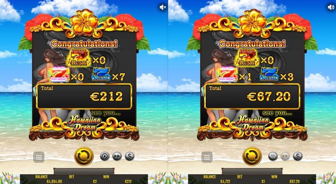 左:2ドル賭けでフリースピン56回!212ユーロ獲得 右:1ドル賭けでフリースピン32回!67.20ユーロ獲得