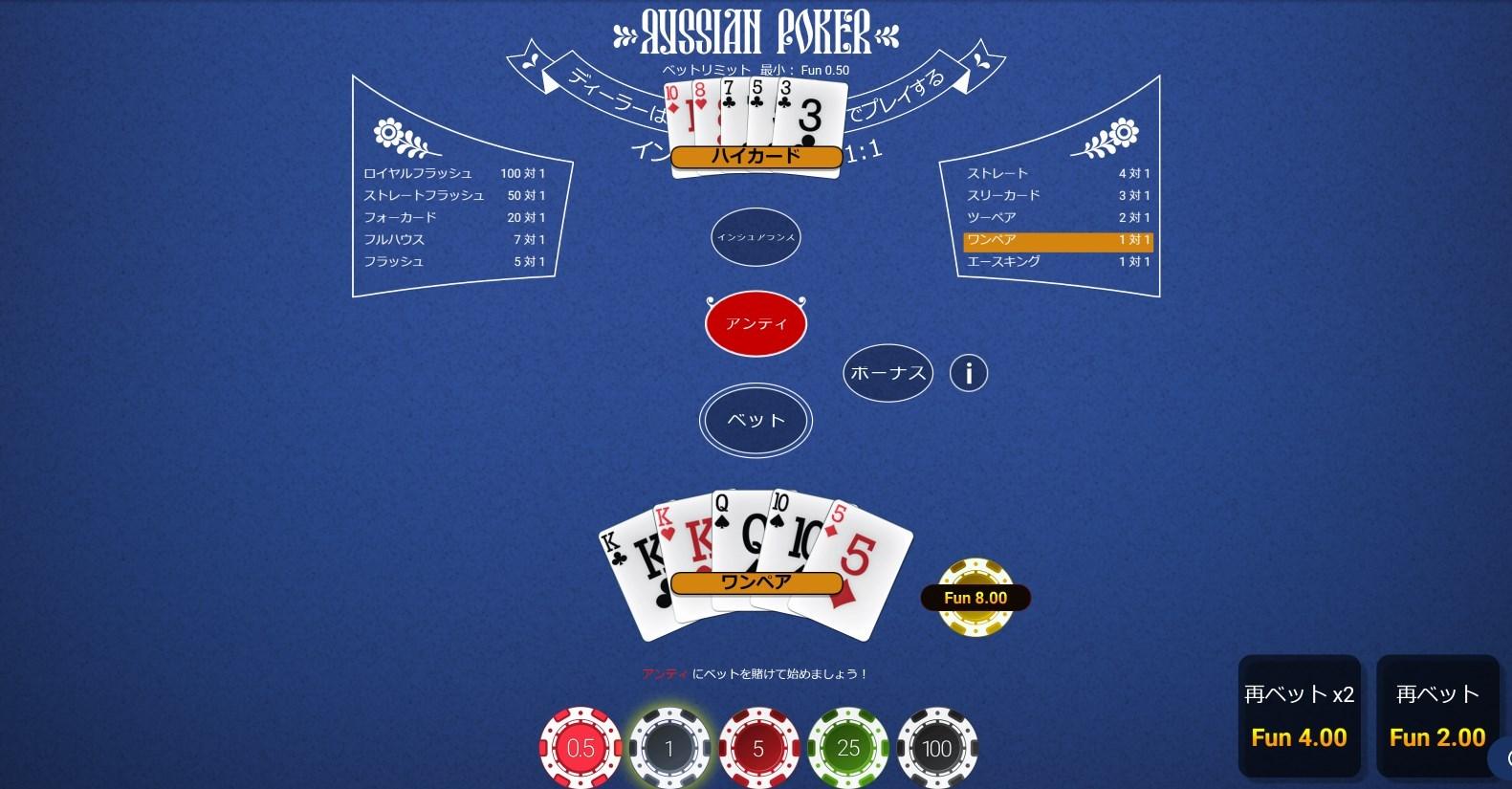 Russian Poker(ロシアポーカー)