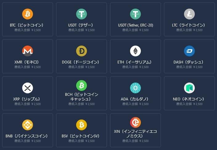 カジノインでは全15種類の仮想通貨(暗号通貨)が利用できます!