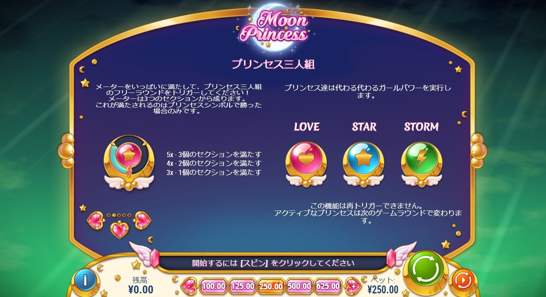「LOVE」「STAR」「STORM」の3種類のボーナスが連続して発生する『プリンセス三人組』