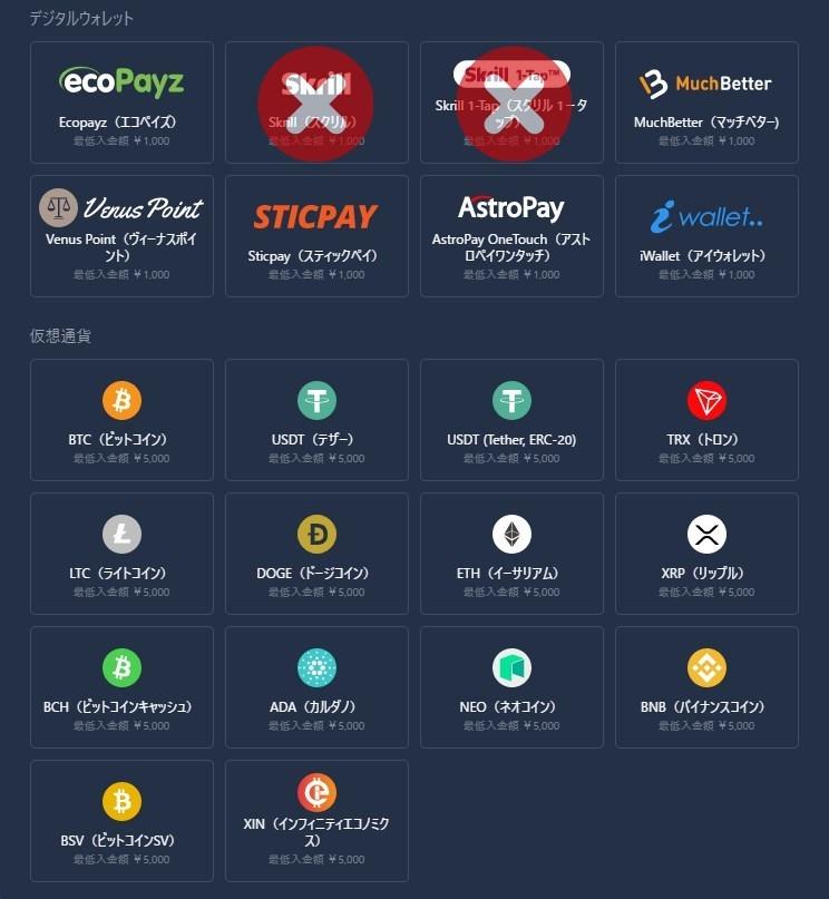 カジノインで使える出金方法は全20種類
